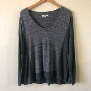 Madewell Long Sleeve Size XS Gray Two Tone VNeck